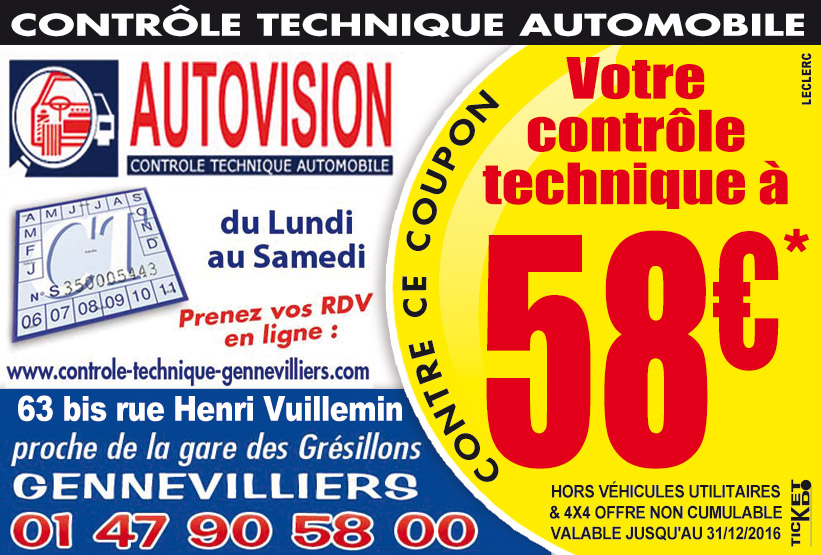 Bon de réduction Autovisionà Gennevilliers 92230 (Bon de réduction Contr?le Technique) # Controle Technique Neuville Aux Bois