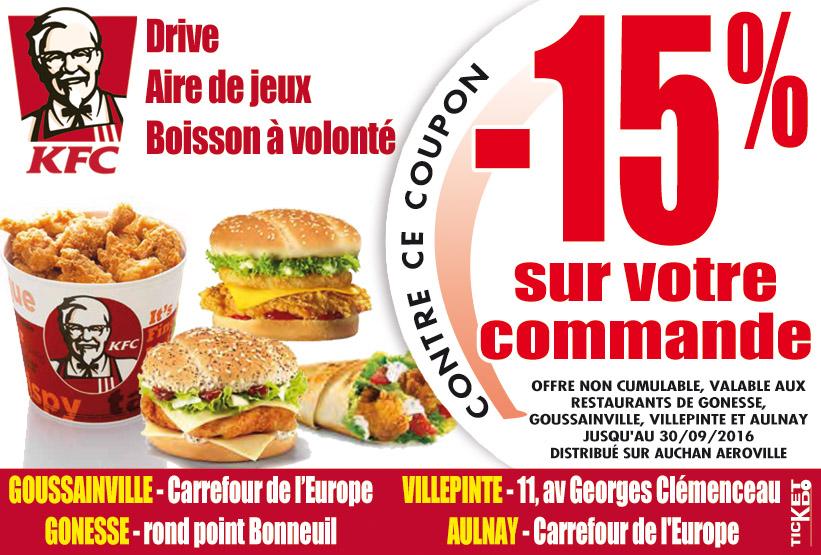 bon de r duction kfc goussainville 95190 bon de r duction restaurant fast food. Black Bedroom Furniture Sets. Home Design Ideas