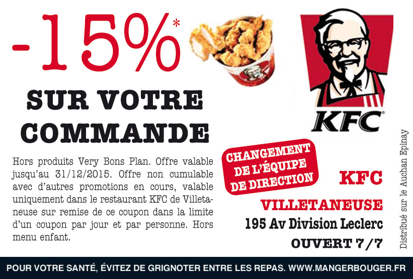 bon de r duction kfc villetaneuse 93430 bon de r duction restaurant fast food. Black Bedroom Furniture Sets. Home Design Ideas